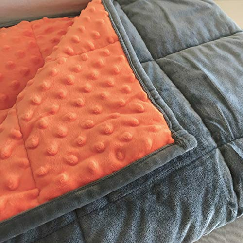 Cheap HomeSmart Products Weighted Blanket for Kids - 7lb 40x60 Orange/Grey - Ultra Soft Minky Fabric - Machine Washable - Perfectly Sized for a Adult Throw Blanket or Lap Pad Black Friday & Cyber Monday 2019