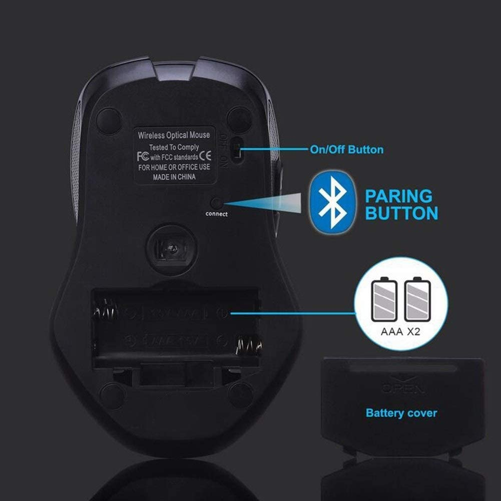 1600DPI 3 Adjustment Levels Wireless Mouse 6 Buttons for PC//Tablet//Laptop Portable Small Travel Mice Mouse Wireless Bluetooth