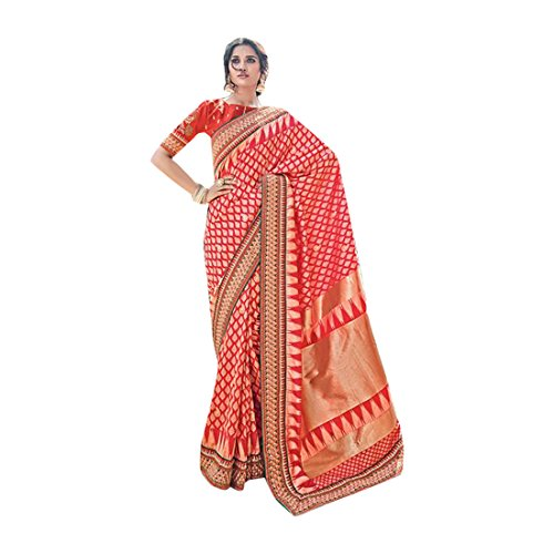 - Treadtional Designer Sari Women Wedding Pure Banarasi saree with one plain,one heavy work blouse 2603