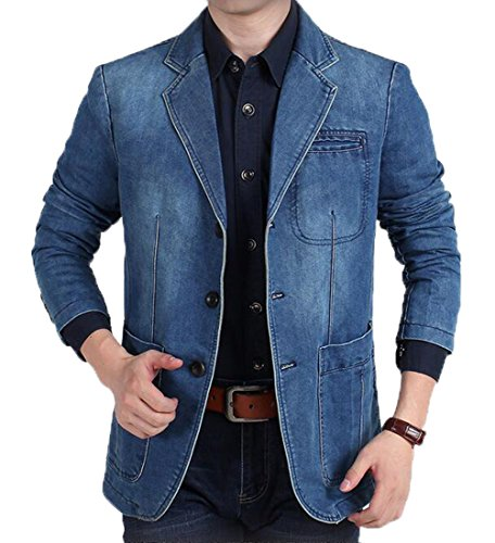 LD Mens Casual Business Washed Denim 3 Button Dress Blazer Jacket Coat 2 M - Blend 2 Button Jacket
