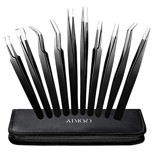 Precision Tweezers Set,Atmoko by ElleSye 10 PCS ESD Tweezer Set, Anti-Static Stainless Steel Tweezers Kit Curved Tweezers for Craft, Jewelry, Electronics, Laboratory Work