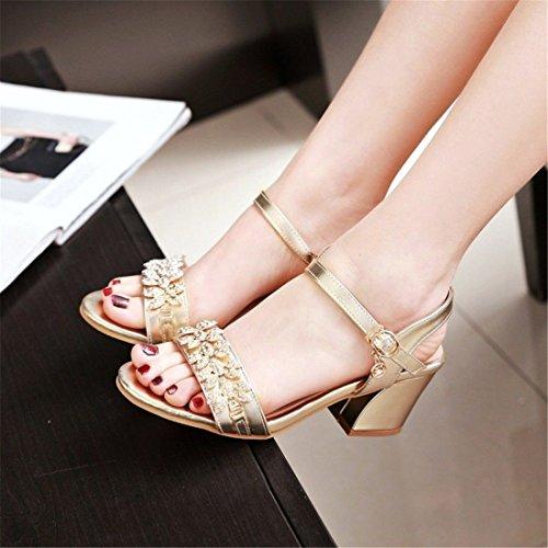Primavera Sandalias de Yardas Golden Pedrería de AIKAKA con Zapatos Mujer Grandes Verano gtZxaHn