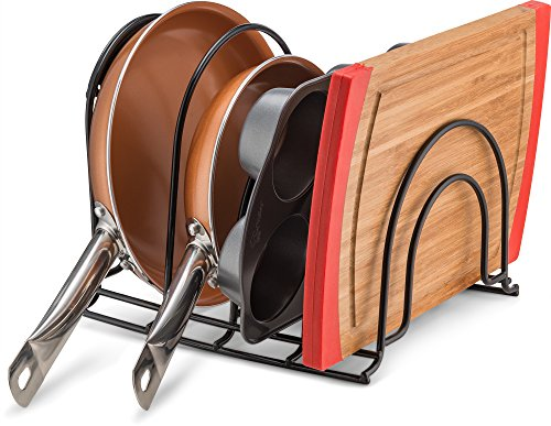 Pan Organizer Rack - Kitchen Closet Storage for Pots, Pans and Lids - Holds Up to 8 Items - Easy Screw or Adhesive Installation - by Bovado USA by Bovado USA (Image #1)