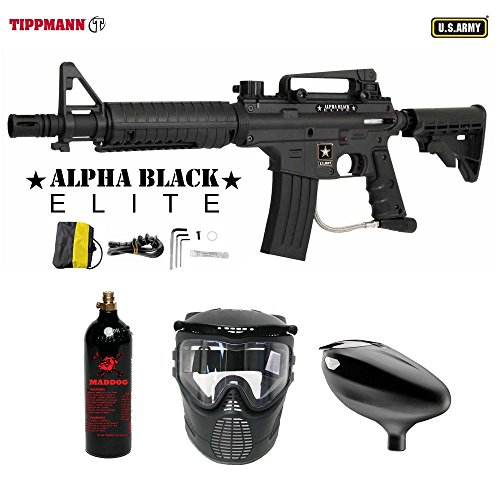 MAddog Tippmann U.S. Army Alpha Black Elite Tactical Beginner CO2 Paintball Gun Package - Black