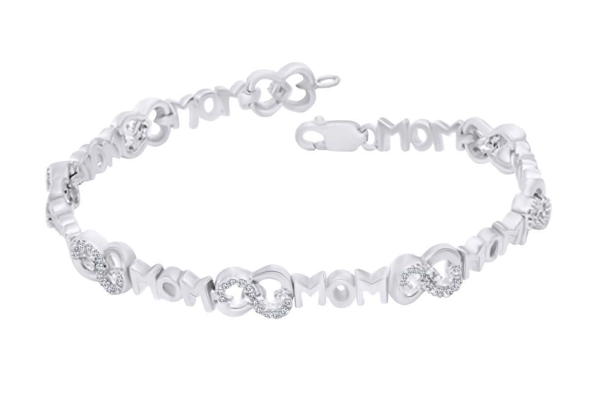 MOM Infinity Heart Bracelet In 14k White Gold Over Sterling Silver Round White Natural Diamond (0.20 cttw)-7.5''