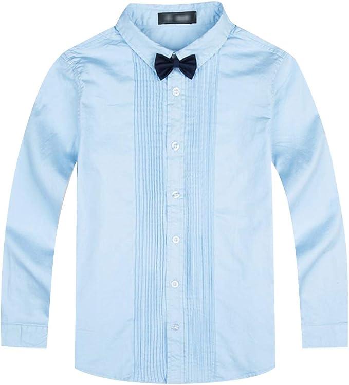 LAUSONS Camisa de Manga Larga Niño Uniforme Escolar con Corbatín: Amazon.es: Ropa y accesorios