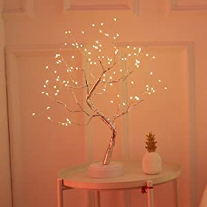 KHTO DIY Led Desk Tree Lamp, Desk Table Decor 108 LED Head Lights for Home,Bedroom, Indoor,Wedding Party, Decoration Touch Switch Battery Powered or USB Adapter