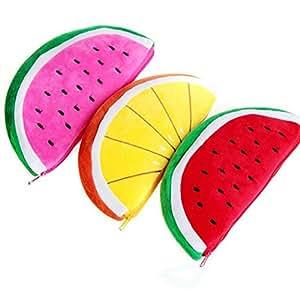 Wicemoon 3pcs Estuches Con Forma de Frutas de Estuche de Lápices Mujer Bolso Cosmético