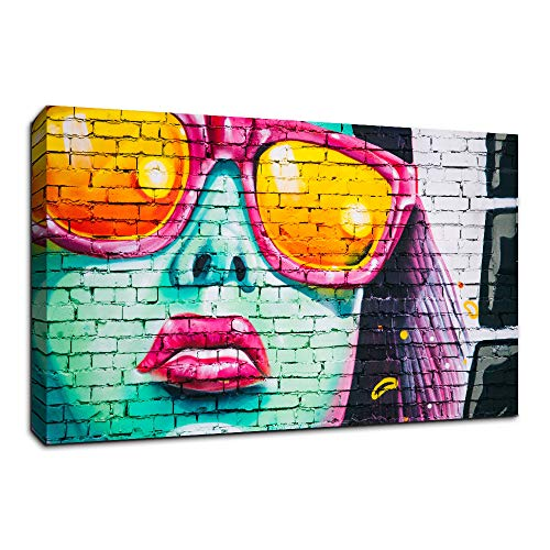 (AMEMNY Canvas Wall Art Triptych Street Graffiti Series Sexy Woman with Sunglasses Giclee Print Gallery Wrap Modern Home Decor for Living Room Wooden Framed Ready to Hang)