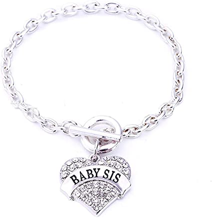 Friends Charm Bling Crystal Cute Love Hearts Metal Pandent Bracelets Christmas Birthday for Family Members