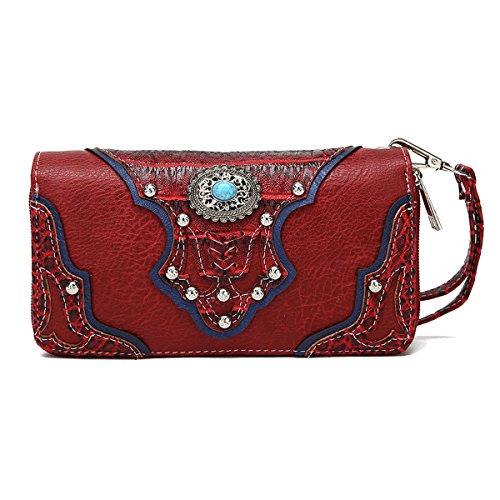 La Dearchuu Rhinestone Studded Wristlet Bags for Women Embossed Design Western Wristlet Purse Wallet Red Wristlet
