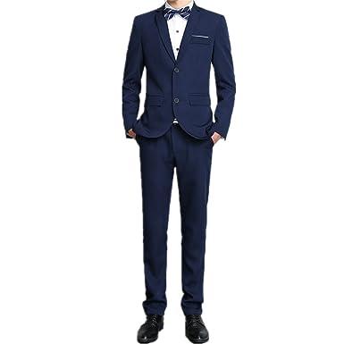 BBSMYA Costume Mode Homme d affaire Deux Bouton Trois pièces Veste Gilet et Pantalon  Mariage c6394b1384c