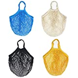TANG SONG 4PACK Portable Reusable Mesh Cotton Net String Bag Fruit Storage Beach Bag Shopping Handbag Shopper Net Tote with Long Handle(Black, Yellow, Blue, Beige)