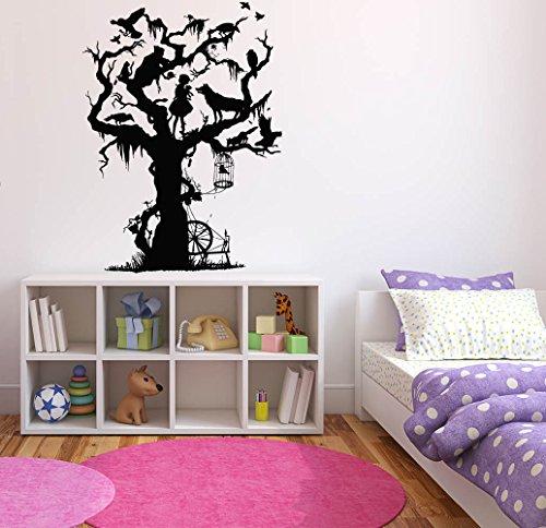 Wall Decal Sticker Bedroom Alice in Wonderland Tree Fairy Tale Characters Kids Girls Boys Teenager Room 620b ()