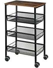 JS NOVA JUNS Industrial End Side Table, 4-Tier Kitchen Island Serving Cart Microwave Oven Stand, DHK34+DHU35