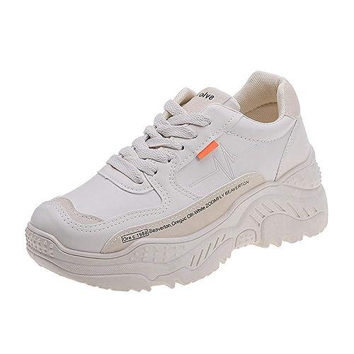 Plataforma CláSica para Mujer Zapatillas para Caminar Primavera OtoñO con Cordones Suela A Rayas SóLido Antideslizante CuñAs Transpirables Roma Zapatos: ...