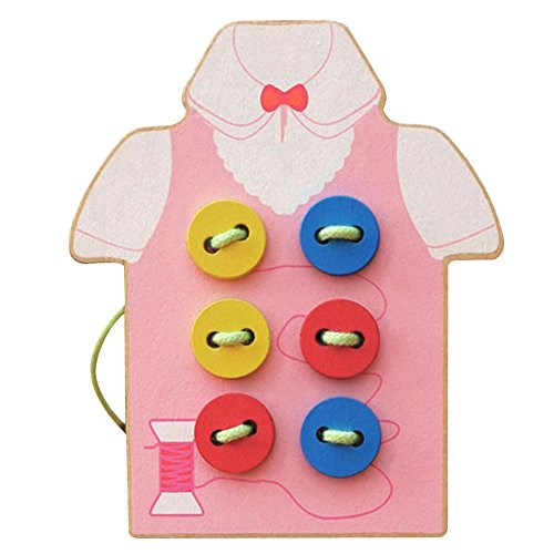 Ruby Groo Kids Educational Toys Children Beads Lacing Board Wooden Toys Sew On Button Early Education Teaching Aids Puzzles As Picture