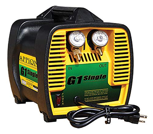 Recovery Machine - Appion G1SINGLE Refrigerant Recovery Machine, 115 Vac, 60 Hz, 10 Amp, 10.3