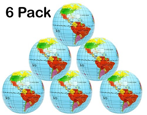 Inflatable World Globe – 16 Inch 6 Pack Political & Topographical Globes, Learning Resources – By Kidsco