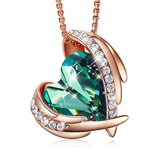 "CDE ""Pink Angel 18K Rose Gold Plated Pendant Necklaces Women Swarovski Necklace Heart Jewelry Fashion for Women, Gift for Valentine's Day"