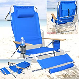 Deluxe 3 in 1 Beach Chair / Lounger w/ Drink Holder and Large Storage Pouch from BeachMall