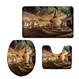 Fashion 3D Baseball Printed,Home Decor,Statues in Cave Temple with Colorful Decorative Ceiling Zen Peace Rocks Picture for Home,Multi,U-Shaped Toilet Mat+Area Rug+Toilet Lid Covers 3PCS/Set