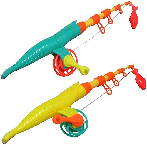 NiGHT LiONS TECH Baby Kids gift Toddler Magnetic Fishing Pole Tools Bath Toys Game 44CM Medium, 2 Packs Color Randomly (pink)