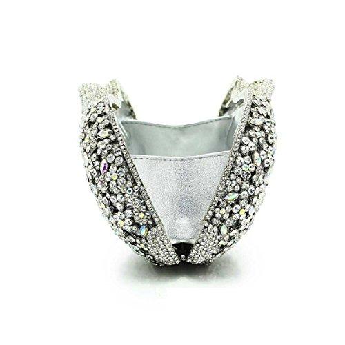 Señora Embrague Cristal Diamantes Cartera Bolso De Noche Hueco A
