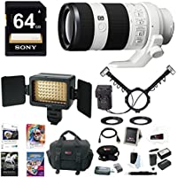 Sony FE 70-200mm Lens, HVLMT24AM Flash, HVLLE1 Video Light Bundle