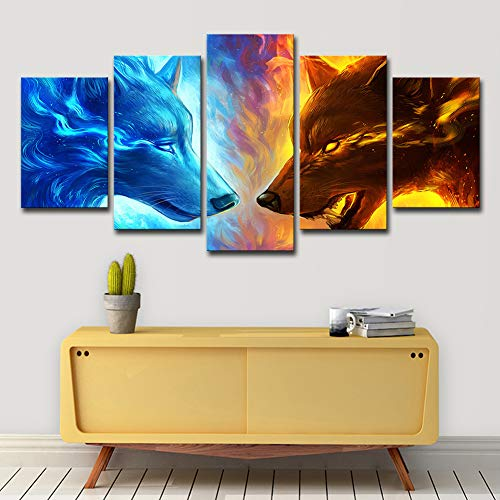 ZEMER Animal Wall Art Wolfs Picture Prints on Canvas Ice Vs Fire 5 Panels Modern Posters Giclee Artwork for Home Office Decor,A,20x30x2+20x40x2+20x50x1