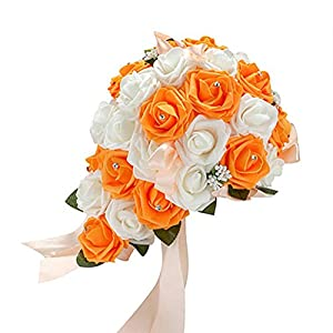 Acamifashion Crystal Roses Pearl Bridesmaid Wedding Bouquet Bridal Artificial Silk Flowers (White & Orange) 21
