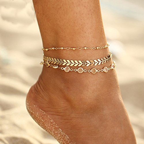 GloryMM Women Multilayer Crystal Rhinestone Arrows Anklet Bracelet Bar Tassel Ankle Chain Bracelet Barefoot Sandal Beach Foot Jewelry -