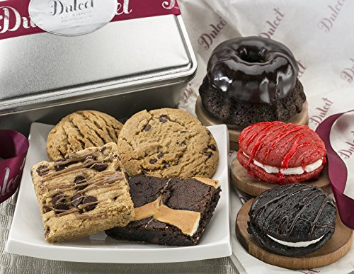 Dulcet New Years Eve Gourmet Food Gift Baskets: Includes:Chocolate Bundt, Chocolate and, Red Velvet Whoopie Pie, Chocolate Chip Blondie, Chocolate Cheese Brownie, Chocolate Chip Cookie, Top Gift Idea