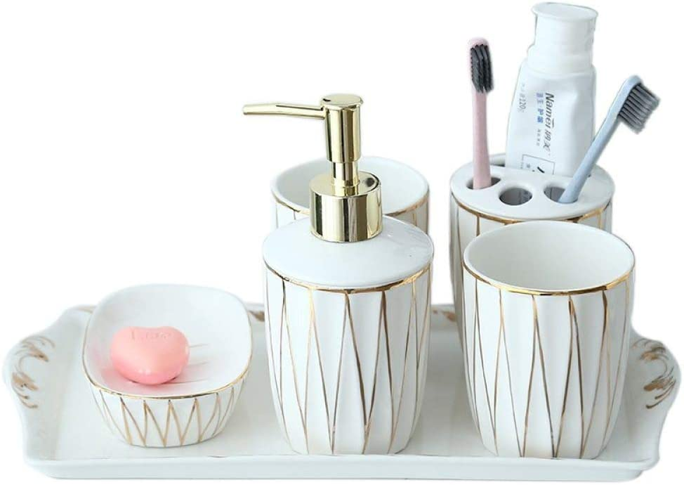 Vintage Ceramic Bathroom Accessories Sets Bathroom Vanity Decor Minimalist Gold Line White 6 Piece Contain Soap Dispenser 2 Pcs Tumbler Vanity Tray Toothbrush Holder Soap Dish For Home Hotel Toilet Amazon Co Uk Kitchen Home