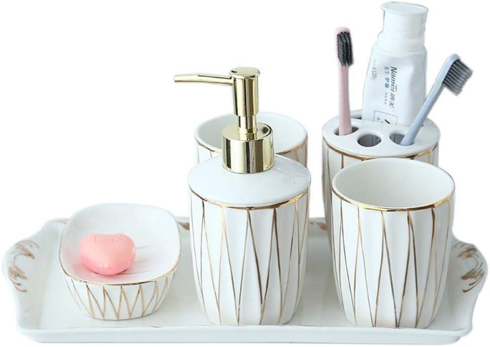 Amazon Com Vintage Ceramic Bathroom Accessories Sets Bathroom Vanity Decor Minimalist Gold Line White 6 Piece Contain Soap Dispenser 2 Pcs Tumbler Vanity Tray Toothbrush Holder Soap Dish For Home Hotel Toilet Furniture Decor