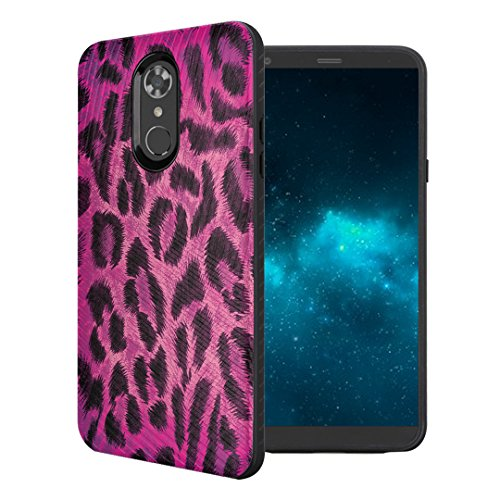 Capsule Case Compatible with LG Stylo 4 Plus, LG Stylo 4, LG Q Stylus [Embossed Diagonal Lines Hybrid Dual Layer Slim Armor Black Case] for LG Stylo 4 - (Leopard Pink)