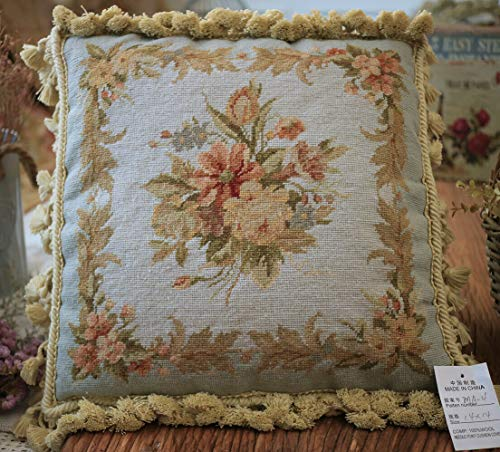 """Fine Home Crafts 14"""" Shabby French Country Swirls Rose Lily Bouquet Handmade Needlepoint Pillow"""