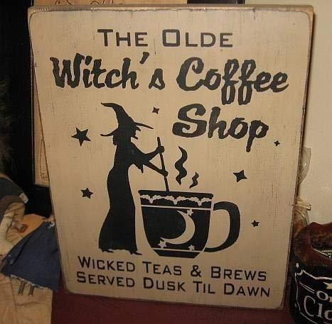 weewen The Olde Witches Coffee Shop Wiccan Plaque Halloween Pagan Home Decor Wall Plaque Hanging Sign]()