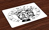 Ambesonne Zodiac Gemini Place Mats Set of 4, Monochrome Zodiac Wheel and Male Twins in Ancient Greek Style Clothes, Washable Fabric Placemats for Dining Room Kitchen Table Decor, Black and White
