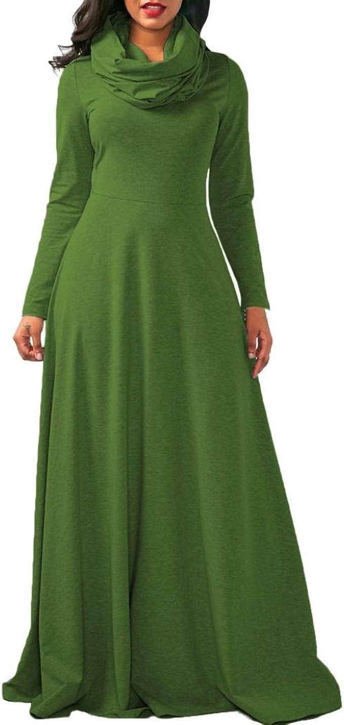 Longra Damenkleider Elegante Kleider Lange Kleider Maxi Kleid mit  Schal-Kragen Damen Abendmode Festliche Kleider Hochzeit Brautjungfer  Abendkleider