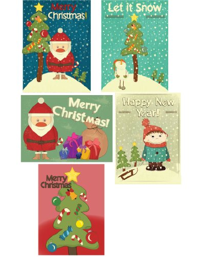 40 Pack Variety Christmas Cards 42 Envelopes Included (Cartoon Christmas)
