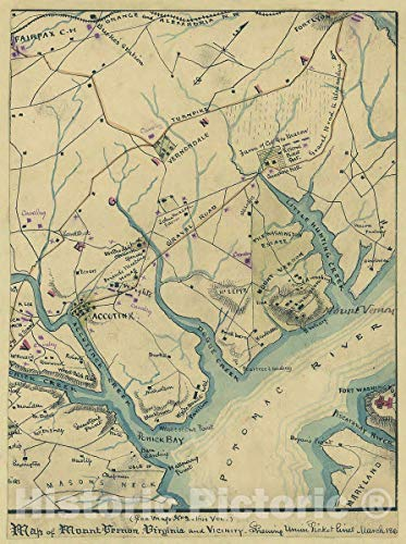 Historic 1861 Map   Map of Mount Vernon, Virginia and Vicinity : shewing [sic] Union Picket Lines, March 186[1]. 33in x 44in
