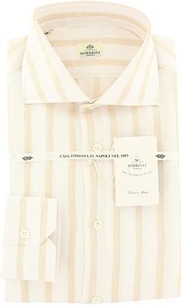 Size Medium 15.5 Luigi Borrelli Blue Stripes Button-Down Collar Linen Slim Fit Dress Shirt