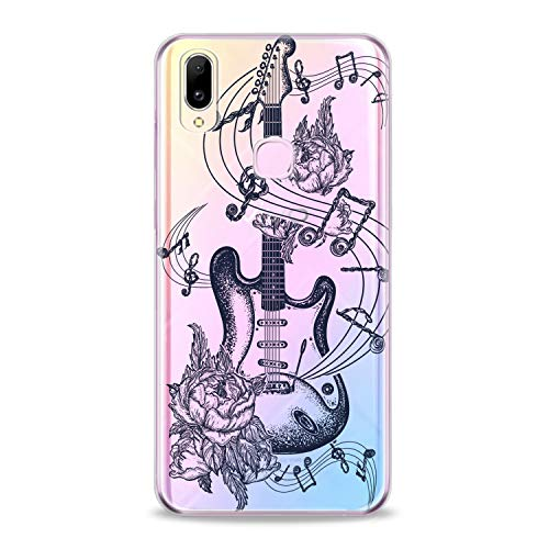 (Lex Altern TPU Case for Vivo V15 Pro V11 V9 V7 V5 V3 X23 X21 X9 Nex Clear Floral Guitar Art Pattern Amazing Black Cover Soft Silicone Special Dot Work)