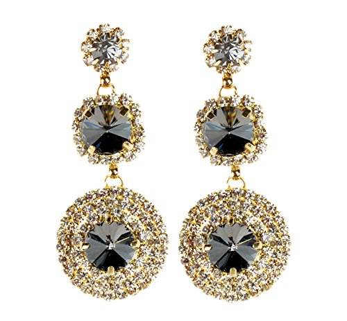 Qise Luxury Inlaid Rhinestone and Glass Dangle Earring (Black)