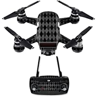 Skin for DJI Spark Mini Drone Combo - Black Argyle| MightySkins Protective, Durable, and Unique Vinyl Decal wrap cover | Easy To Apply, Remove, and Change Styles | Made in the USA