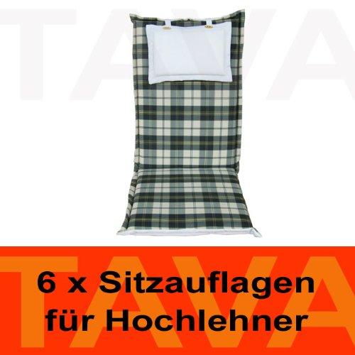 MEBELINO AHZK6 - Set von 6 Sitzauflagen MEBELINO AHZK für Hochlehner Gartenstühle, wasserabweisend, mit Zipper, 95 (50 + 45)x70 cm, 5 cm dick, grün kariert