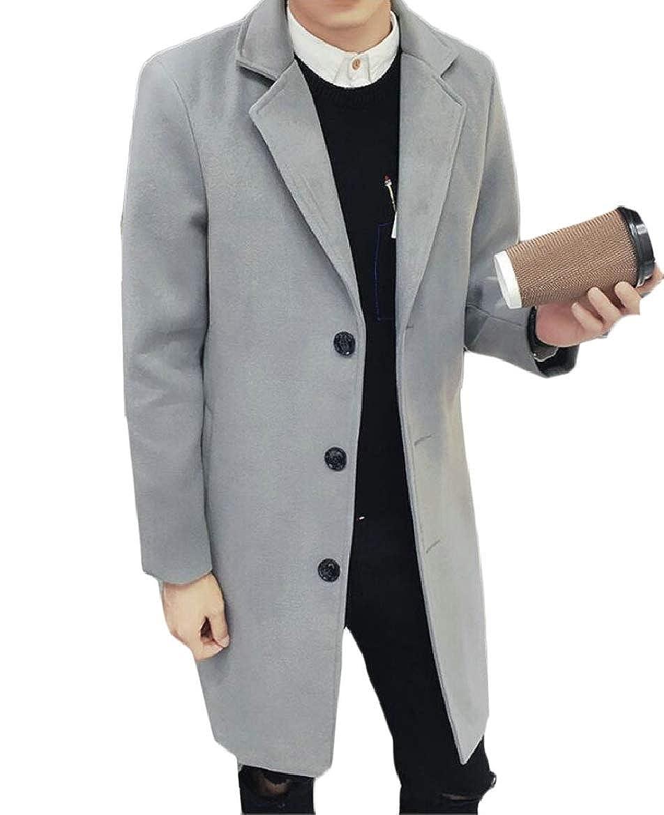65690d0f19a Dark Grey RG-CA Men's Casual Mid Long Wool Wool Wool Blend Single Breasted  Slim Overcoat Jackets 43b8d3