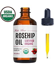 Rosehip Oil by Kate Blanc. USDA Certified Organic, 100% Pure, Cold Pressed, Unrefined. Reduce Acne Scars. Essential Oil for Face, Nails, Hair, and Skin. Natural Moisturizer. 1-Year Guarantee (1 oz)