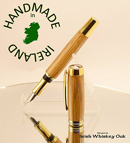 Desk stand FREE for our Irish whiskey barrel Oak Shannon fountain pen all handmade in Cavan Ireland writers ink pen dip pen Peter Bock nibs available for this pen in Gold or Chrome by Irish Pens